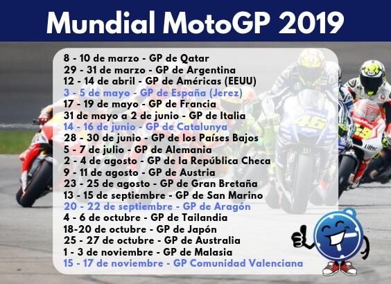 Moto Gp Calendario.Mundial Motogp 2019 Seguropordias